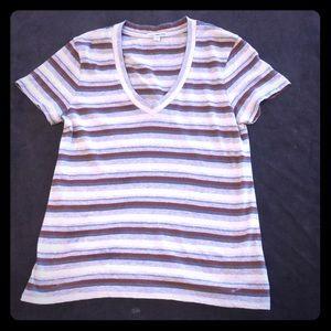 Standard James Perce Striped V neck T shirt